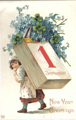 Adin antique jewelry vintage jewelry new year postcard