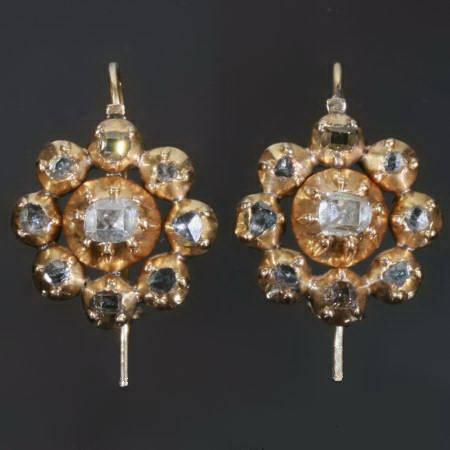 Early-Georgian golden earrings with table cut rose cut diamonds