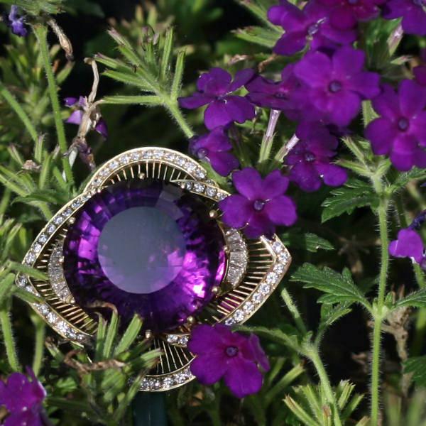 Impressive estate amethyst diamond brooch