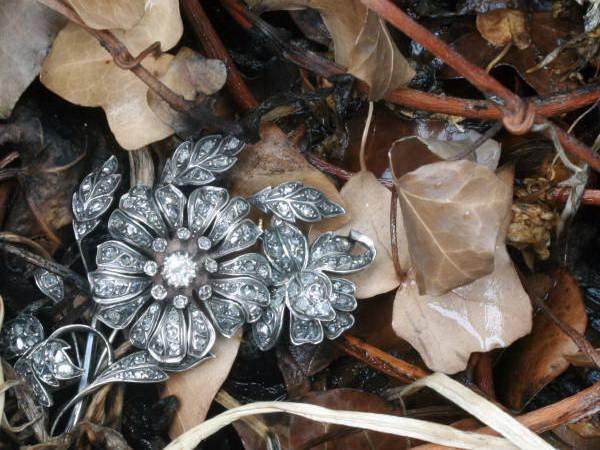 Huge Victorian rose cut diamond flower brooch