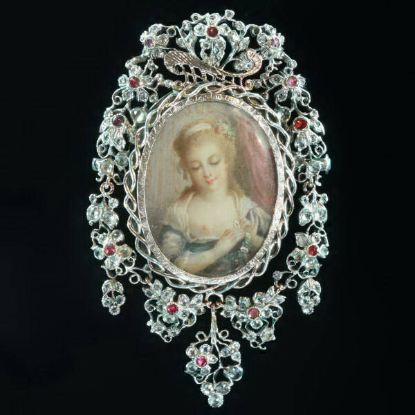 Victorian romantic brooch pendant with painted miniature of Agnes Sorel on ivory and paste stones