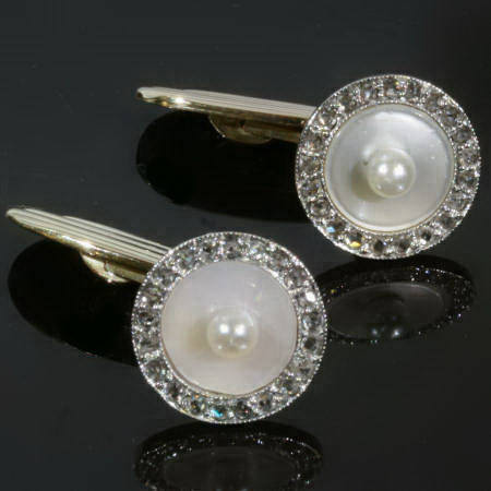 Art Deco cufflinks with rose cut diamonds, pearls and mother of pearl