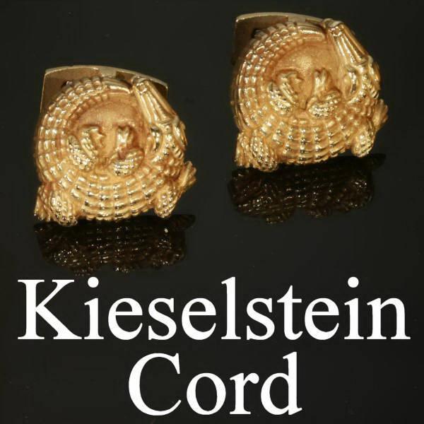 Estate cufflinks with alligator motifs signed Kieselstein-Cord