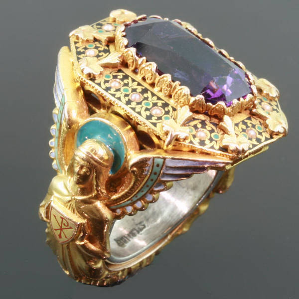 Gold Victorian Bishops ring with stunning enamel work, gem amethyst and hidden ring with stalking wolf