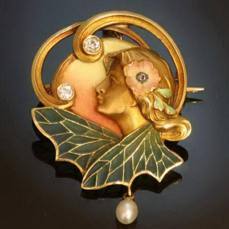 High quality Art Nouveau pendant/brooch with plique a jour enamel