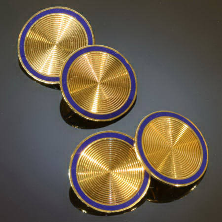 Yellow gold Art Deco cufflinks with blue enamel