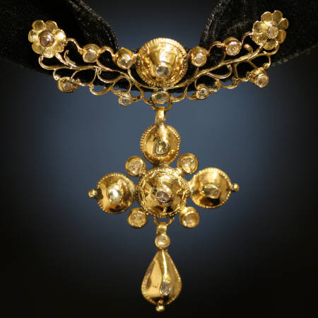 Pre Victorian gold rose cut diamonds cross from the antique jewelry collection of Adin Antique Jewelry, Antwerp, Belgium
