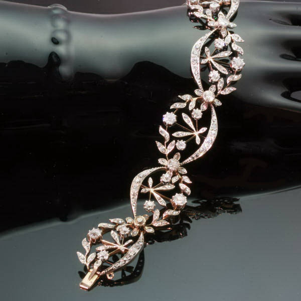 Pure elegance from France, French Victorian diamond wreath bracelet from the antique jewelry collection of Adin Antique Jewelry, Antwerp, Belgium