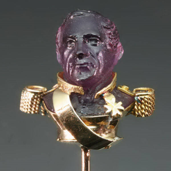Victorian gold stickpin representing a Bonapartic general from the antique jewelry collection of Adin Antique Jewelry, Antwerp, Belgium