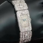 Stylish ladies platinum Art Deco wrist watch with 3.60 crt diamond from the antique jewelry collection of www.adin.be