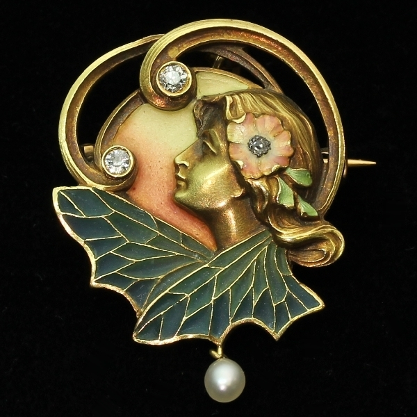 Weekly antique jewelry herald archive 2013 high quality art nouveau pendant brooch with plique a jour enamel from the antique jewelry collection aloadofball Image collections