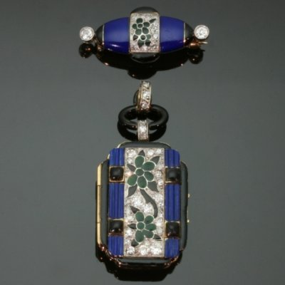 Art Deco blue enamel Lady watch, stunning piece from the antique jewelry collection of www.adin.be
