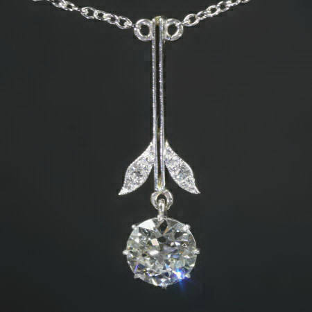 Art Deco diamond Princess necklace dangle pendant from the antique jewelry collection of www.adin.be