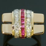 Charming red gold retro ring with rubies and diamonds from the antique jewelry collection of www.adin.be