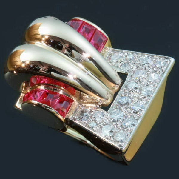 Very strong design handmade Retro ring with diamonds and rubies from the forties from the antique jewelry collection of www.adin.be
