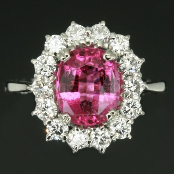 White gold estate diamond engagement ring with attractive pink tourmaline