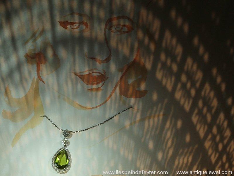 Platinum necklace Art Deco diamond pendant with pear shape peridot