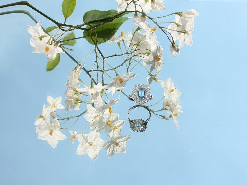 Platinum estate engagement ring with beautiful aquamarine and diamonds