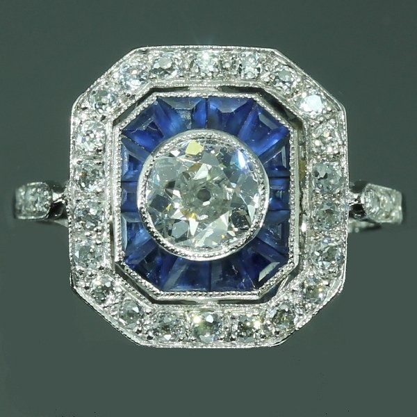 Vintage Blue Sapphire Diamond Engagement Ring Art Deco Jewelry from the antique jewelry collection of www.adin.be