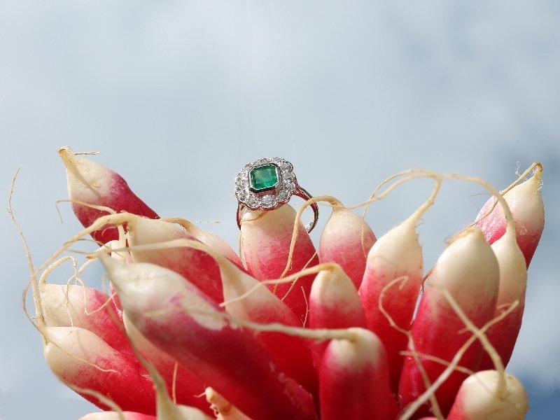 Interbellum Art Deco diamond and emerald estate engagement ring