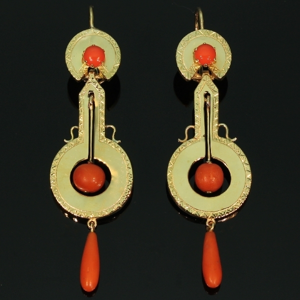 antique and estate earrings with red