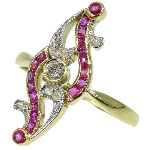 Elegant Belle Epoque ruby and diamond ring
