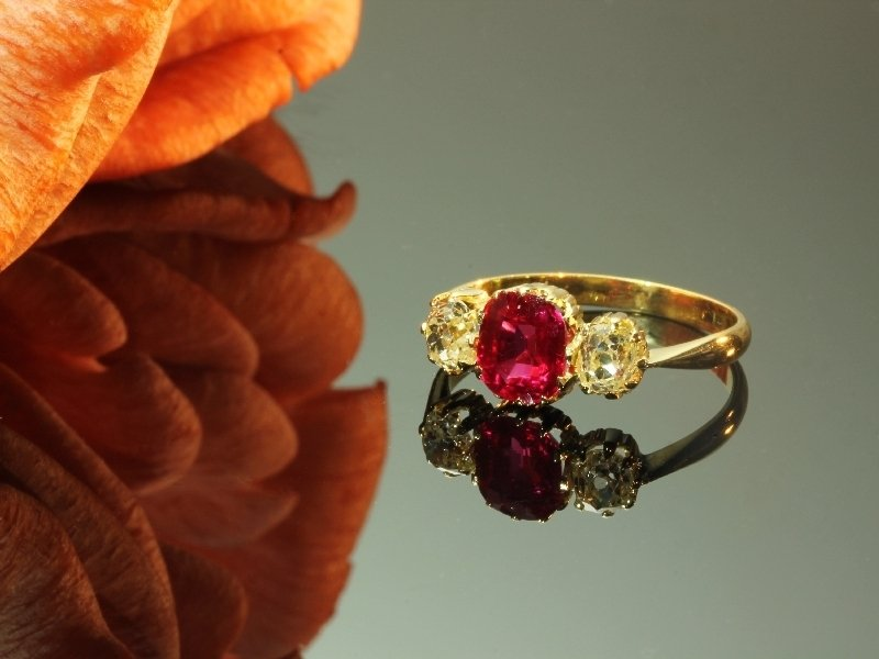 Late Victorian diamond and Verneuil ruby engagement ring