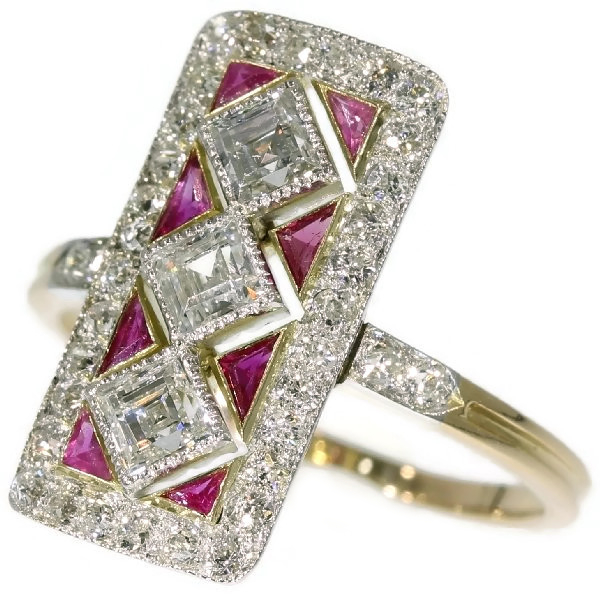 Adorable Art Deco engagement ring with diamonds and rubies