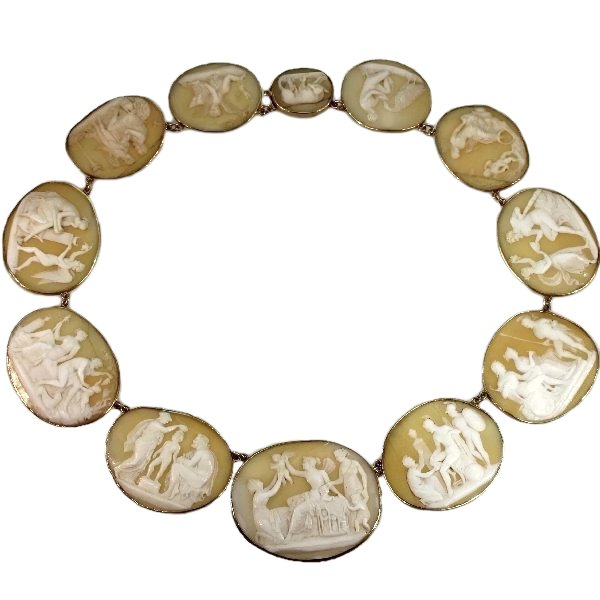French antique cameo necklace ca. 1840