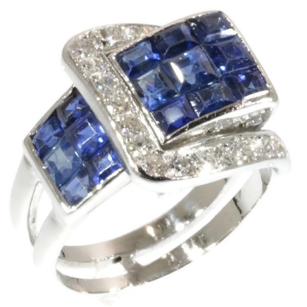 VCA - Van Cleef & Arpels Art Deco Sapphire Diamond Invisibly Set Mystery Setting Ring