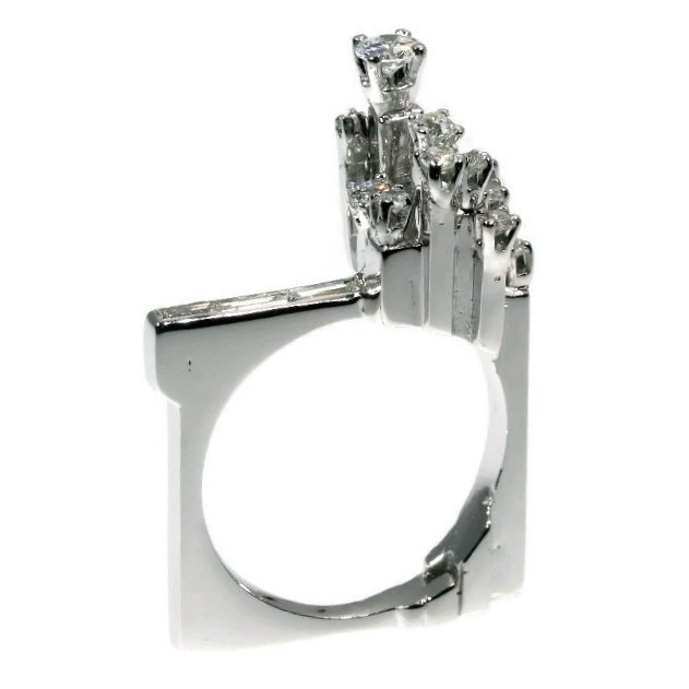 Strong design artist jewelry French platinum ring with diamonds from the sixties