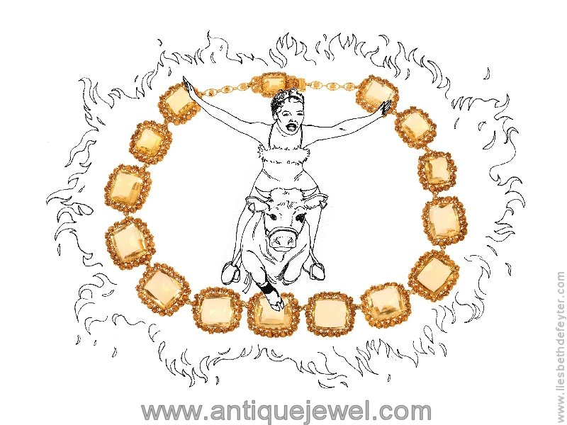 Click the picture to get to see this Antique necklace gold cannetille filigree work with 15 big citrine stones