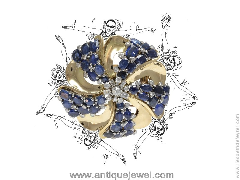 Click the picture to get to see this Fifties Signed Cartier Paris pendant brooch buckle with diamonds and sapphires
