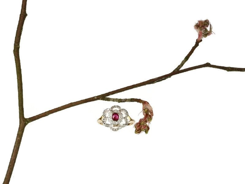 Click the picture to get to this Art Deco roset ring platinum gold diamonds and ruby