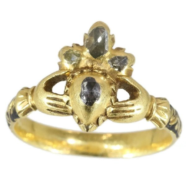 Click the picture to get to see this Extraordinary Claddagh or Fede engagement ring from the early 17th Century.