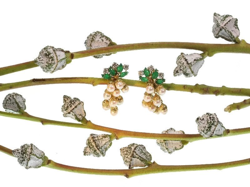 Click the picture to get to see these French estate gold and platinum diamond and pearl earrings with green leaves
