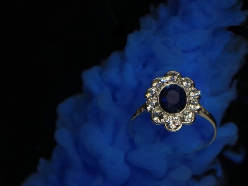 Click the picture to get to see this Vintage platinum Lady Di engagement ring with brilliant and sapphire.