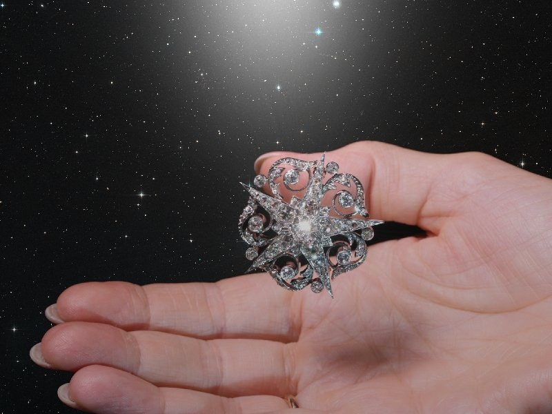 Click the picture to get to see this French Victorian antique star brooch filled with old mine brilliant cut diamonds.