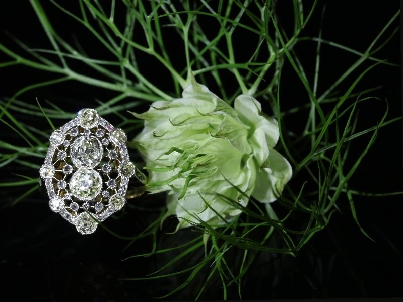 Click the picture to get to see this Très Belle Epoque diamond engagement ring with natural fancy color diamonds.