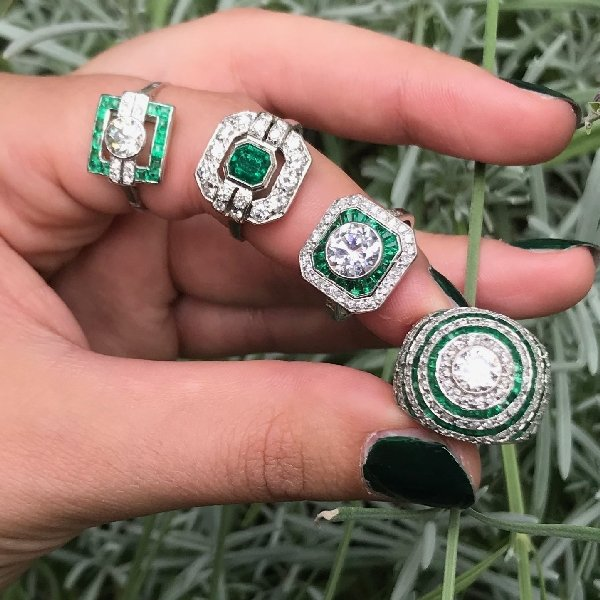 Click the picture to get to these vintage diamond and emerald rings.