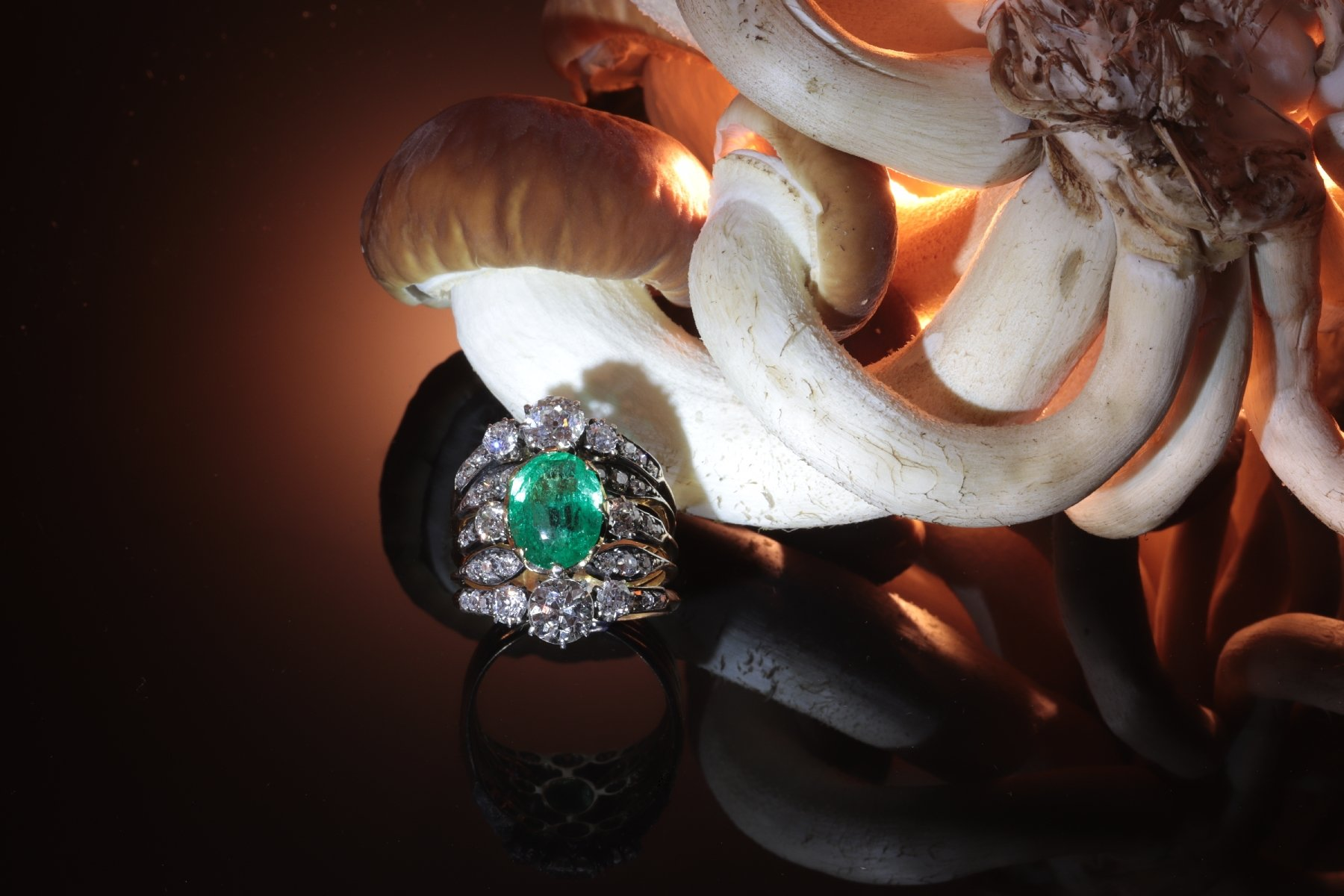Click the picture to get to see this Victorian antique ring with diamonds and emerald used as hero prop in movie The Spider in the Web.
