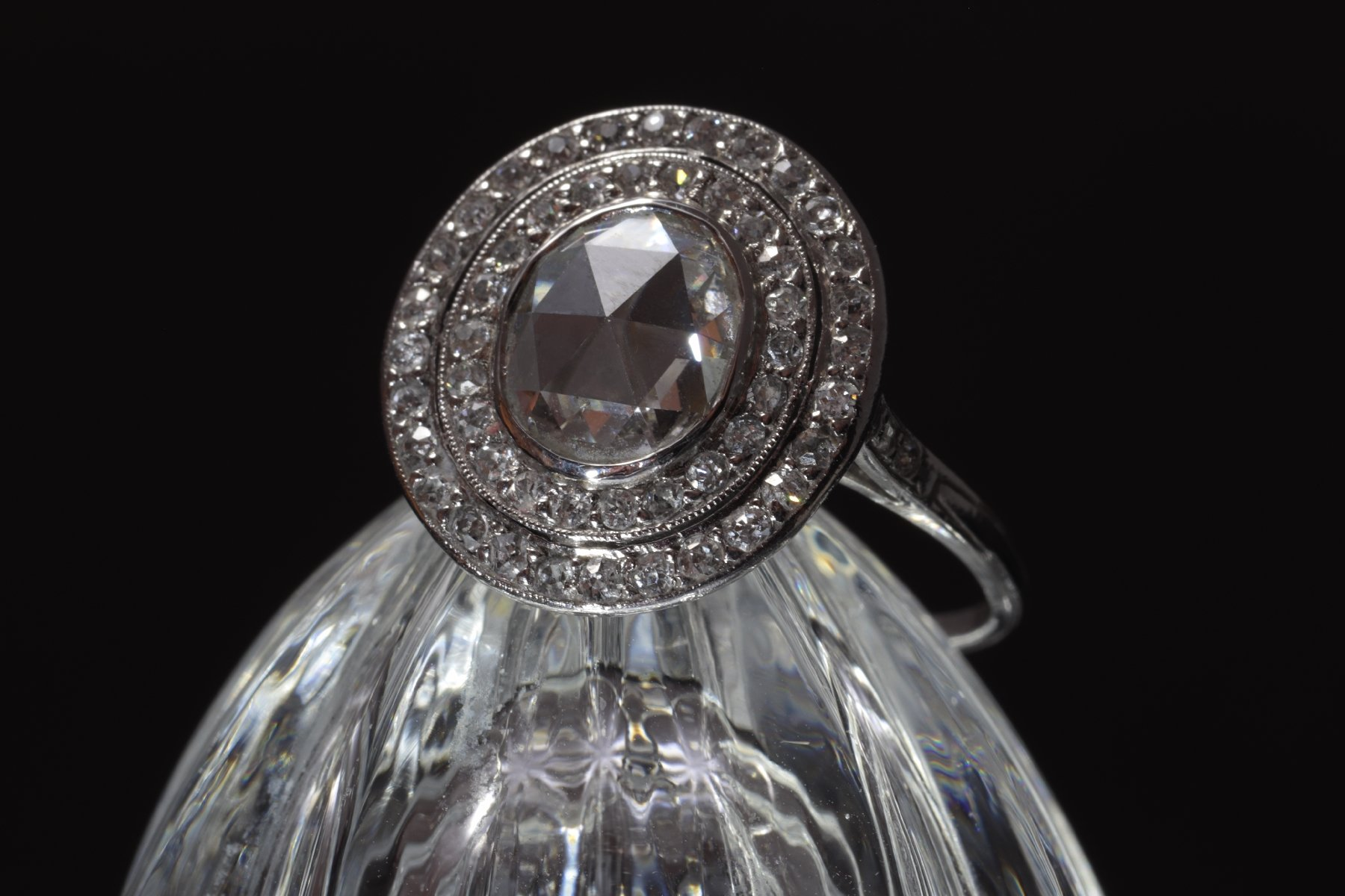 Click the picture to get to see this Art Deco platinum diamond engagement ring with large rose cut diamond.