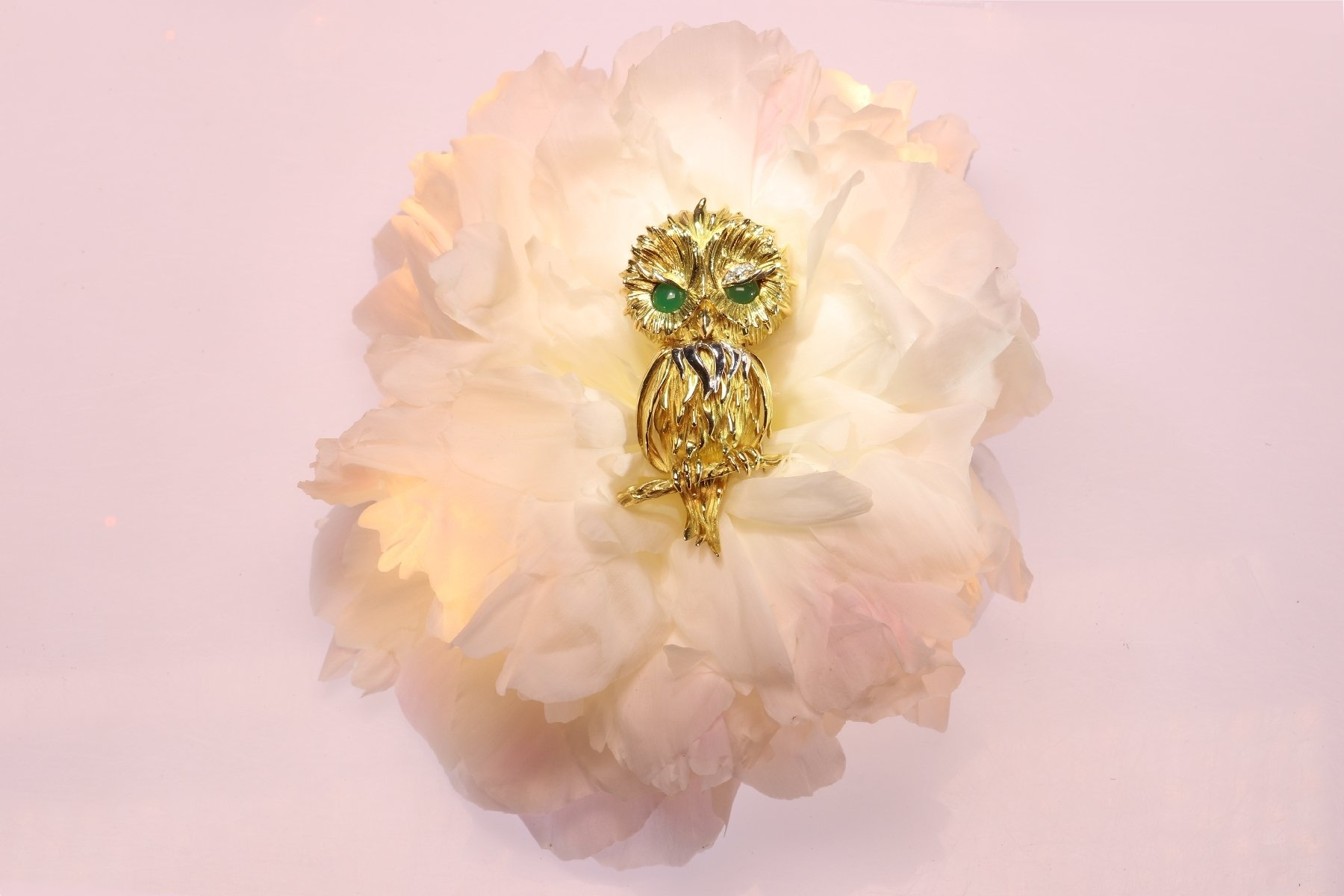 Click the picture to get to see this Vintage Fifties French gold owl with diamond eyebrow.