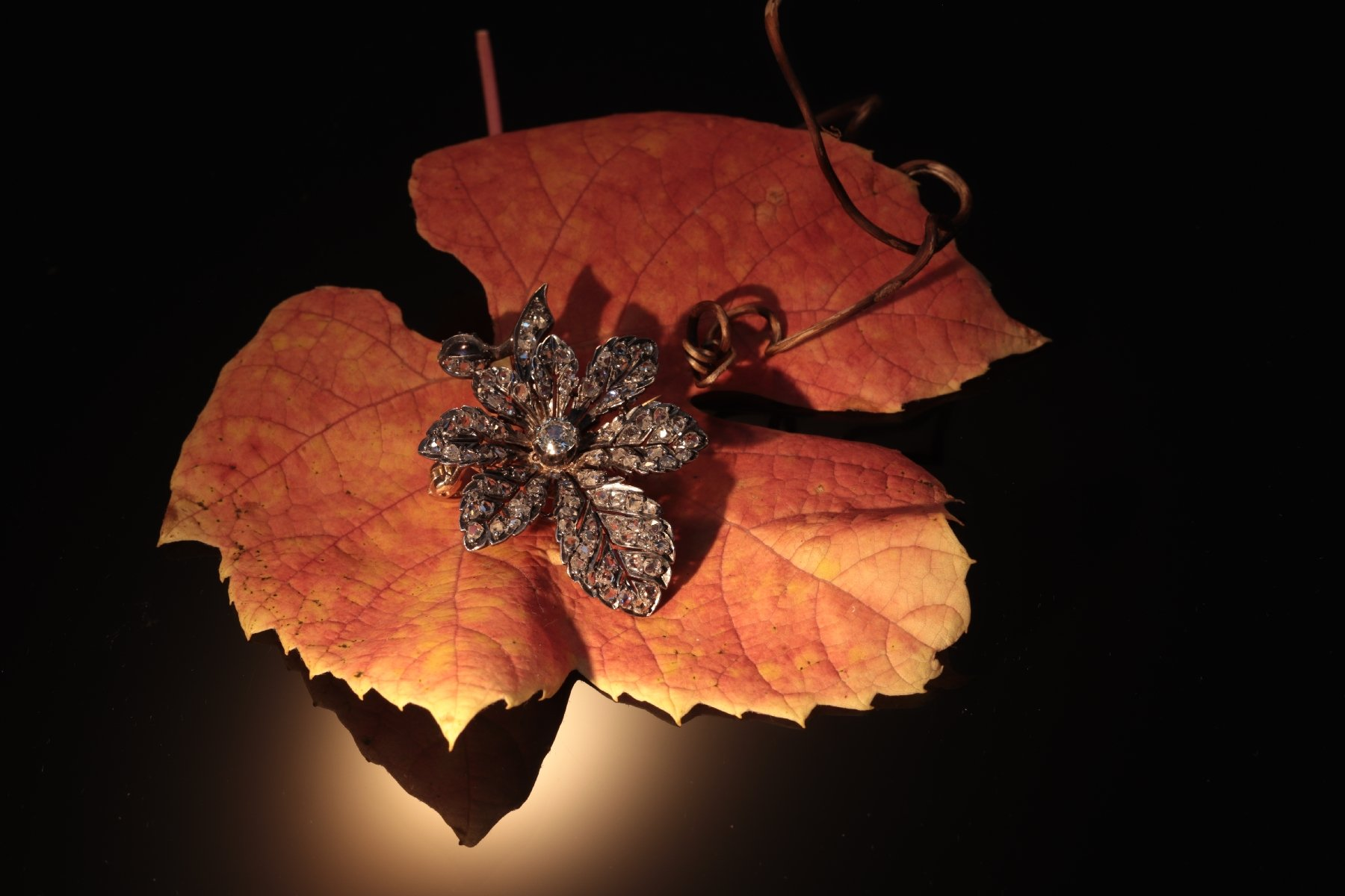 Click the picture to get to see this Antique Victorian chestnut leaf brooch fully embellished with over 100 diamonds.