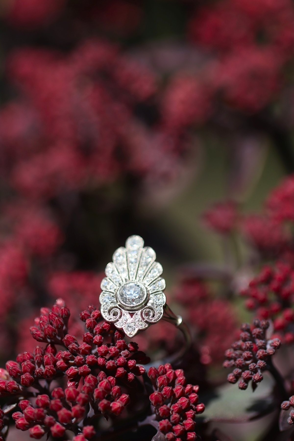 Click the picture to get to see this French elegant Belle Epoque diamond engagement ring platinum.