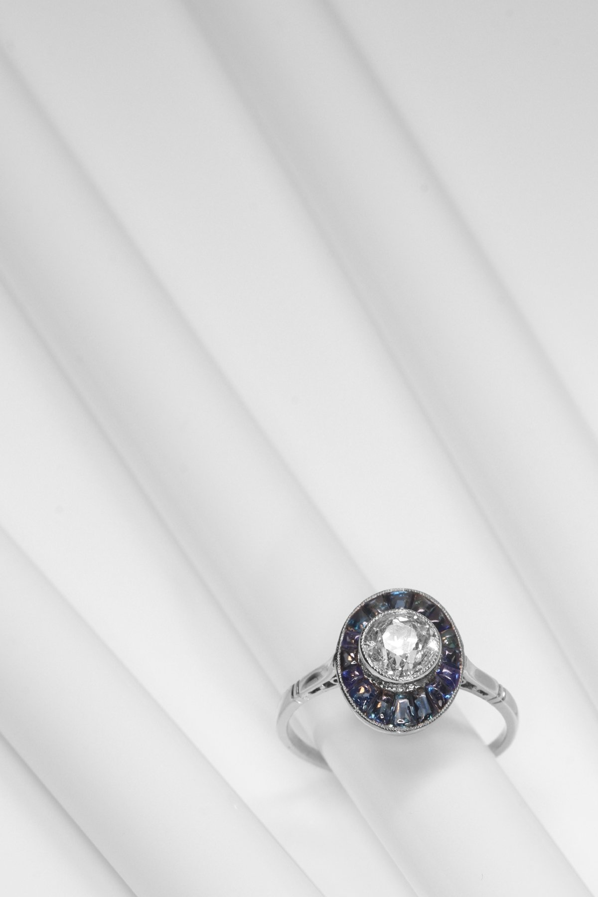 Click the picture to get to see this Vintage Art Deco platinum diamond sapphire engagement ring.