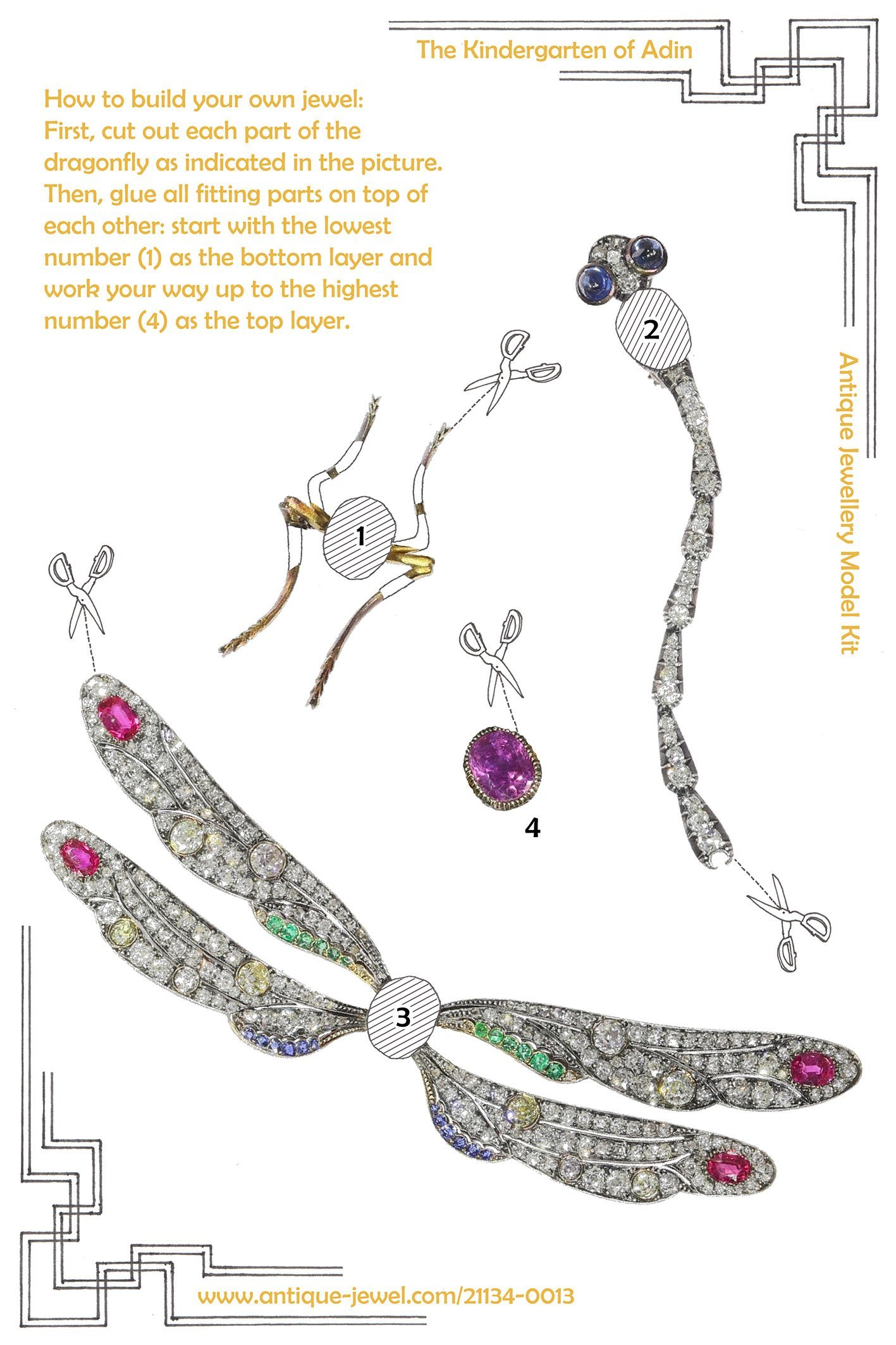 Click the picture to get to see this magnificent Art Nouveau bejeweled dragonfly brooch